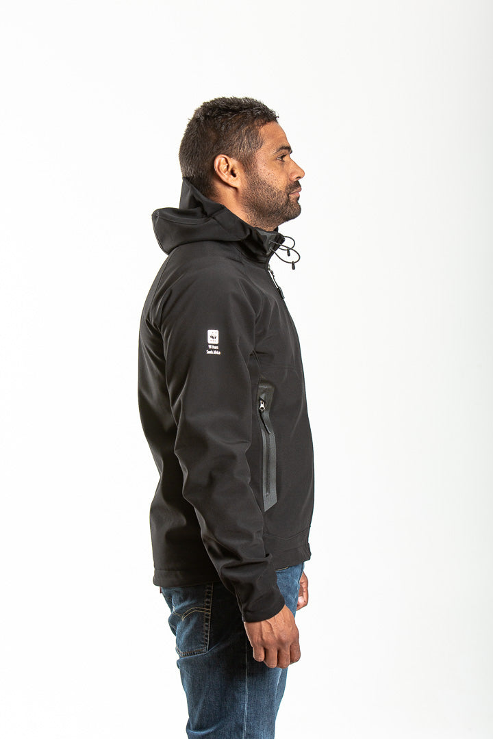 MENS BLACK LEOPARD SOFTSHELL