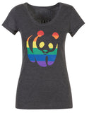 Charcoal Rainbow Panda Ladies T-Shirt