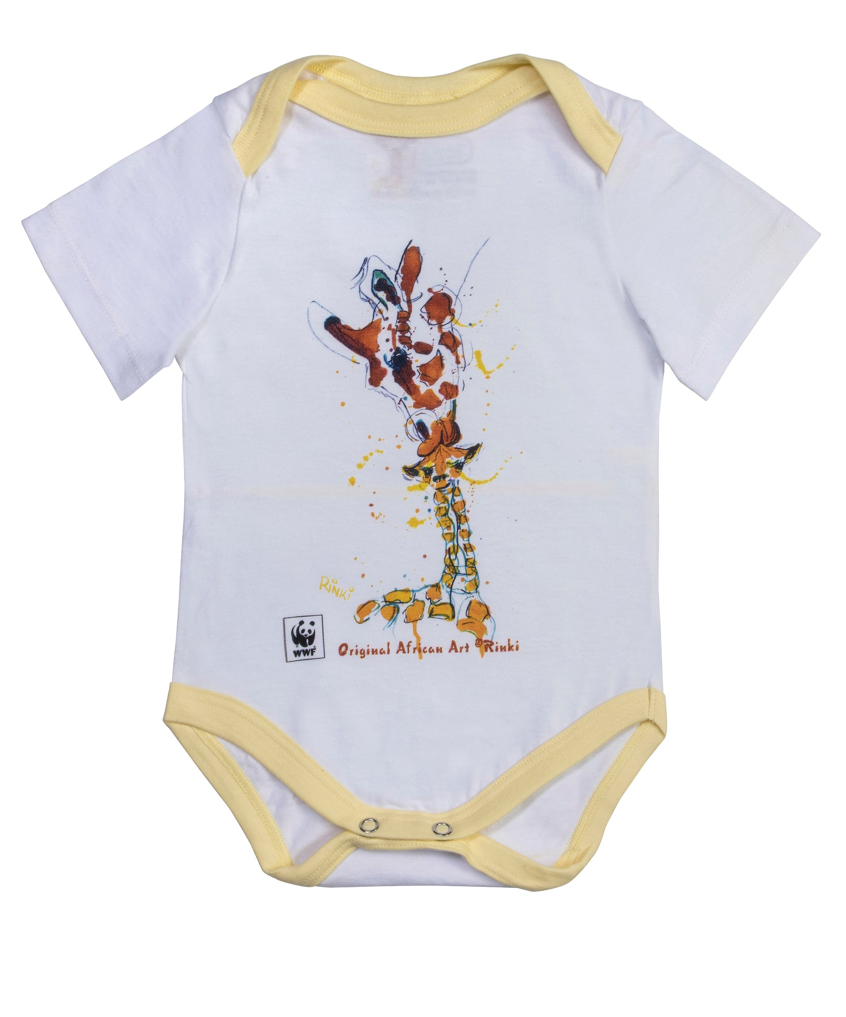 Rinki  Mom & Baby Giraffe Yellow Edge Baby Grow