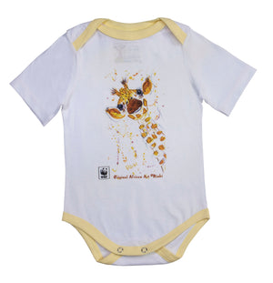 Rinki  Smiling Giraffe Yellow Edge Baby Grow