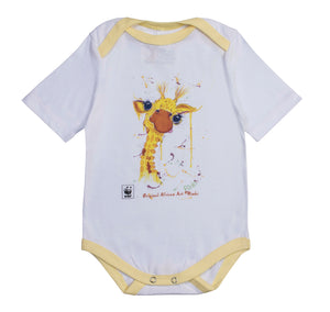 Rinki  Cheeky Giraffe Yellow Edge Baby Grow