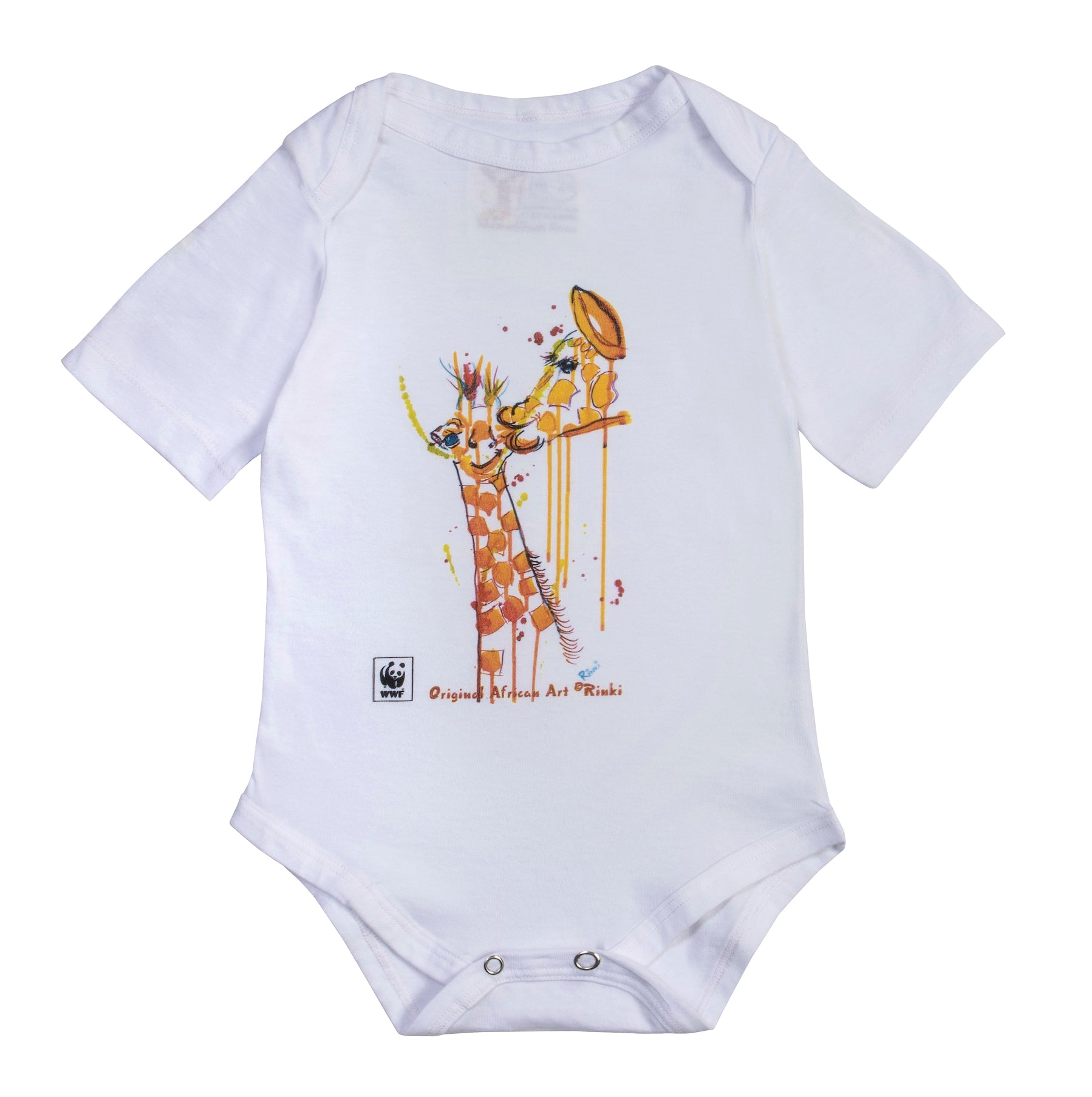 Rinki  Bath-time Giraffe S/Slv Baby Grow