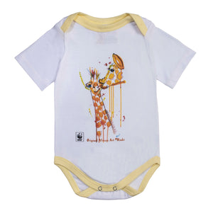 Rinki Giraffe Bath-time Yellow Edge Baby Grow