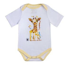 Rinki  Curious Giraffe Yellow Edge Baby Grow