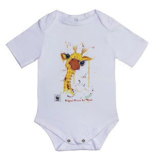 WWF Rinki Collection Cheeky Giraffe Short Sleeve Baby Grow