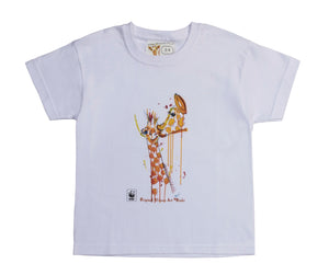 Rinki Giraffe Bath-time White T-shirt