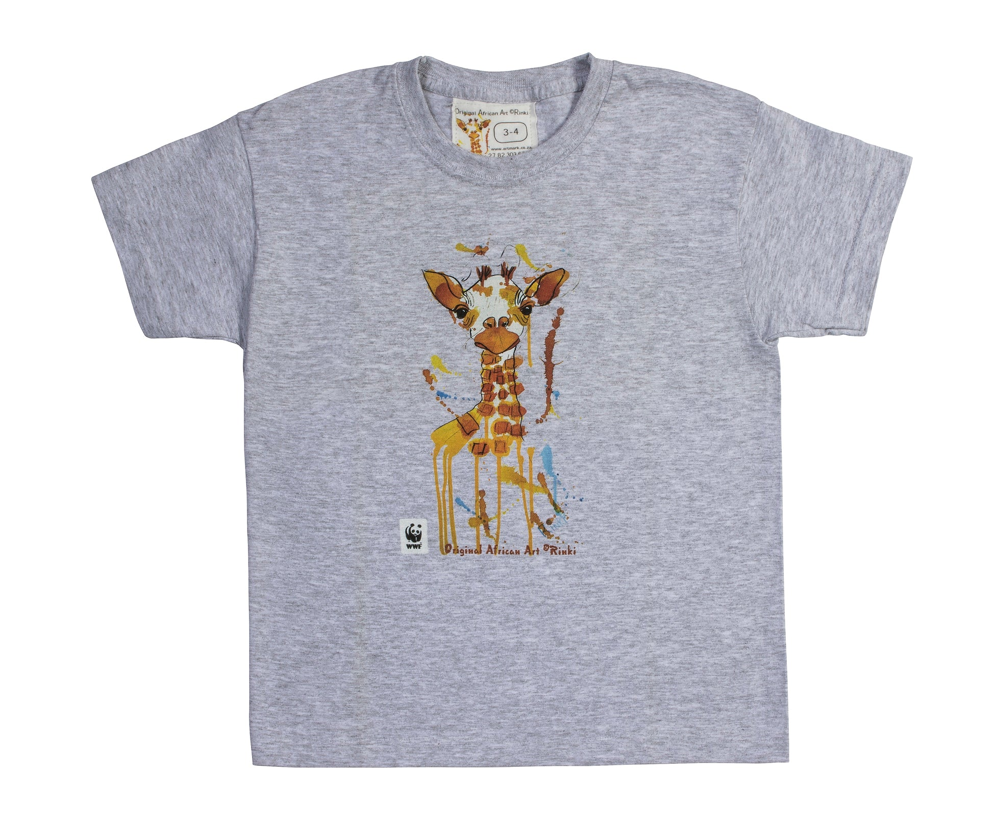 Rinki  Curious Giraffe Grey  T-shirt