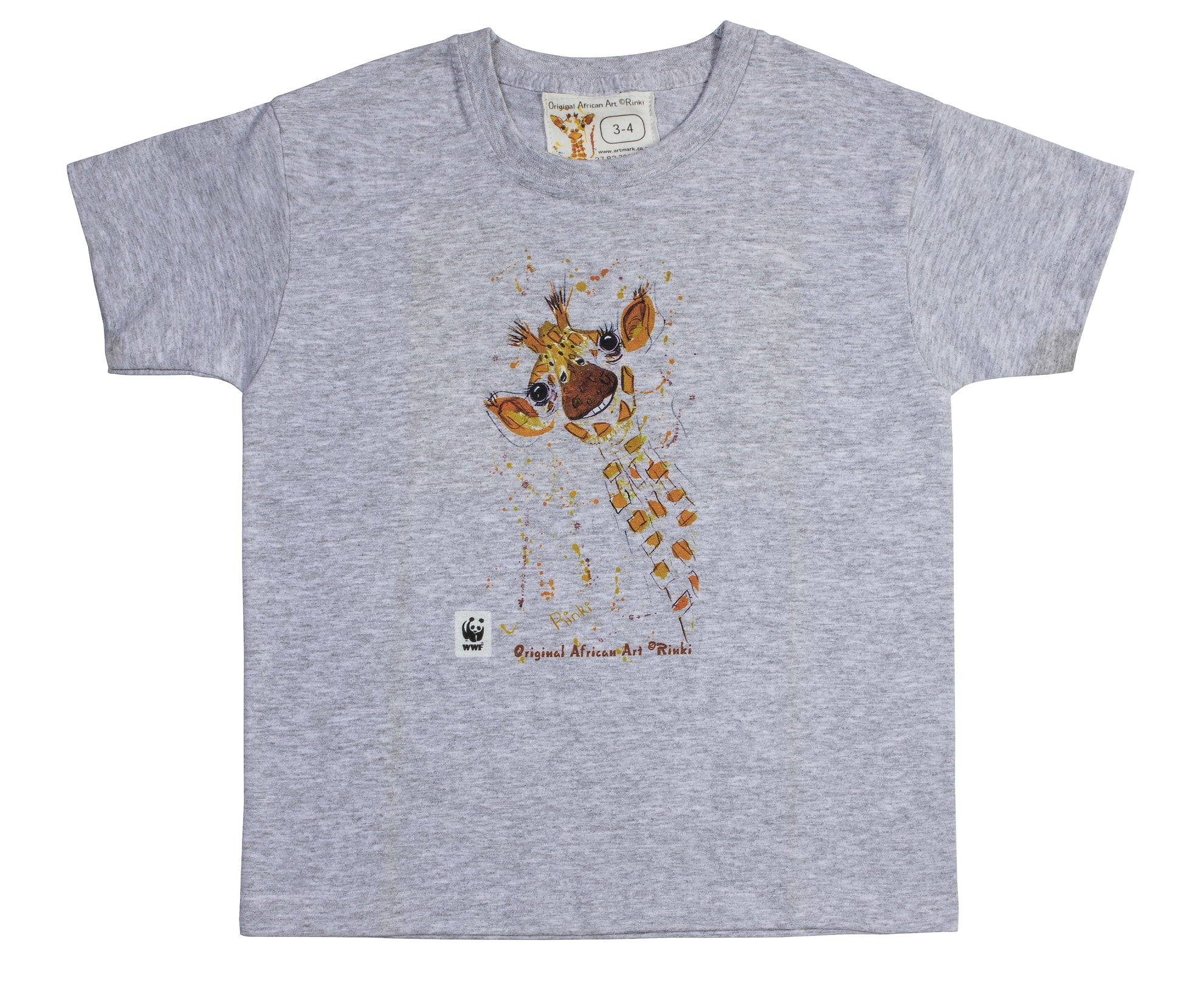 Rinki  Smiling Giraffe Grey  T-shirt