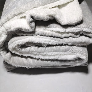 Winter Flannel Fleece Embossed Sherpa Comforter - CQ Linen
