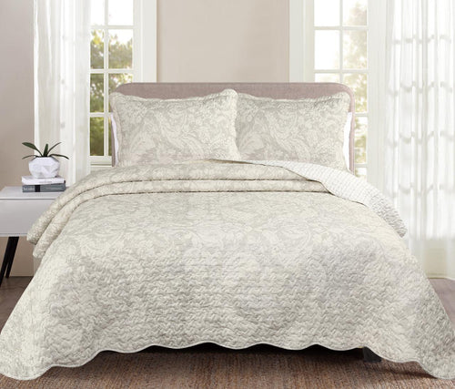 Luxury 100% Cotton Embroidered Quilt Set - Olivia - CQ Linen Quality Bedding