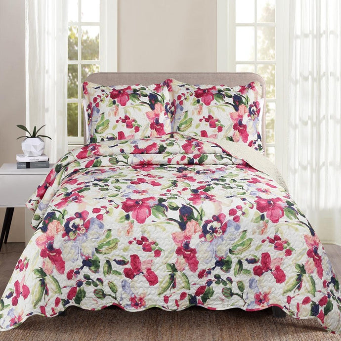 Luxury 100% Cotton Embroidered Quilt Set - Floral - CQ Linen Quality Bedding