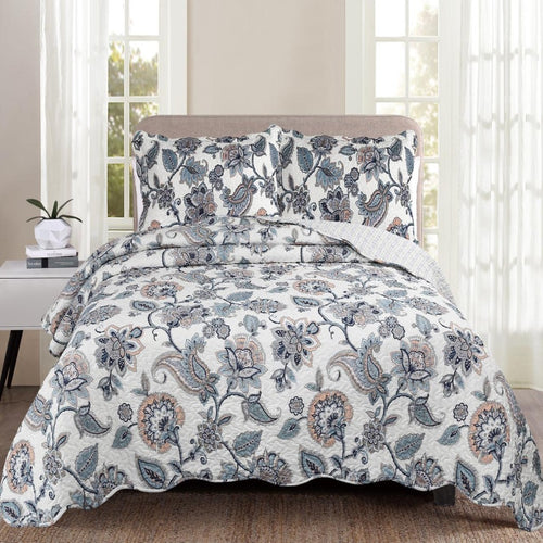 Luxury 100% Cotton Embroidered Quilt Set - Floral Blue - CQ Linen Quality Bedding