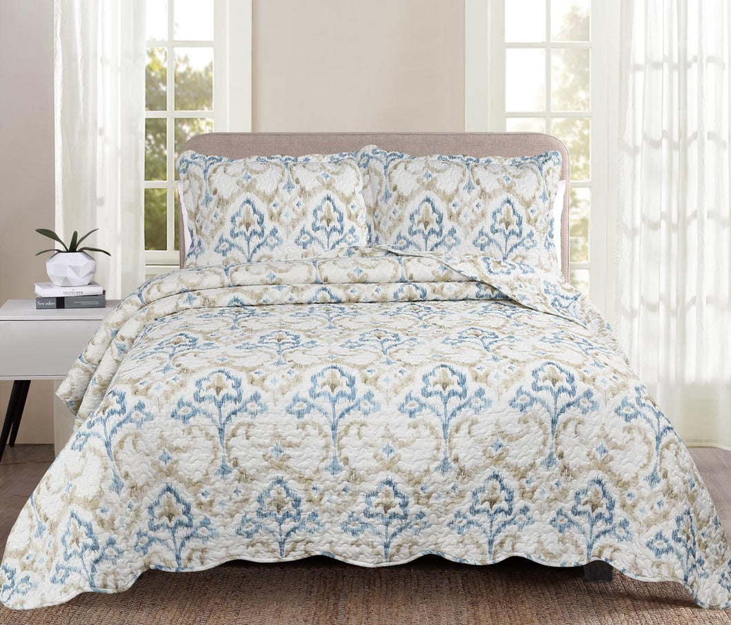 Luxury 100% Cotton Embroidered Quilt Set - Floral DuckEgg - CQ Linen Quality Bedding