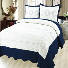 Load image into Gallery viewer, Luxury Microfibre Embroidered Quilt Set - Indigo ( Various Colours) - CQ Linen Quality Bedding