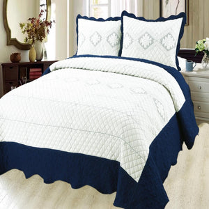 Luxury Microfibre Embroidered Quilt Set - Indigo ( Various Colours) - CQ Linen Quality Bedding