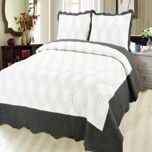 Luxury Microfibre Embroidered Quilt set - Geo ( Various Colours) - CQ Linen Quality Bedding