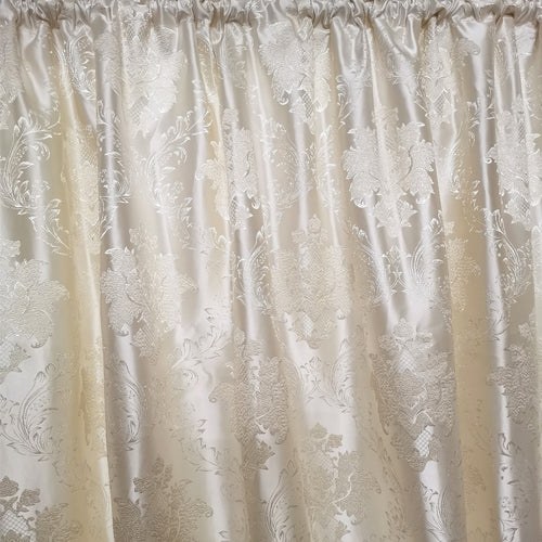 Cream Damask Exclusive Jacquard Taped and Lined Curtain - 230x218cm - CQ Linen Quality Bedding