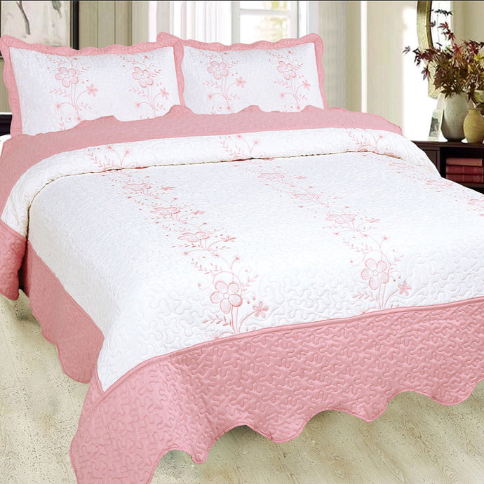 Luxury Microfibre Embroidered Quilt Set - Anastasia (various colours) - CQ Linen