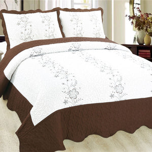 Luxury Microfibre Embroidered Quilt Set - Anastasia (various colours) - CQ Linen Quality Bedding
