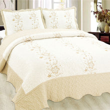 Load image into Gallery viewer, Luxury Microfibre Embroidered Quilt Set - Anastasia (various colours) - CQ Linen