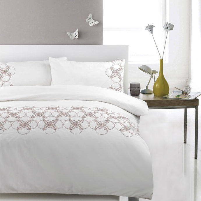 100% Cotton Embroidered Duvet Cover Set - Bistro Circles - CQ Linen Quality Bedding