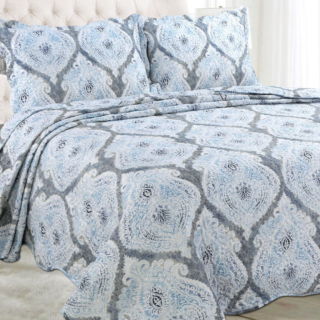 Microfibre Printed Quilt Set - Blue Grey - CQ Linen Quality Bedding