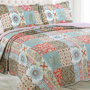 Microfibre Printed Quilt Set - Orange and Duck egg - CQ Linen Quality Bedding