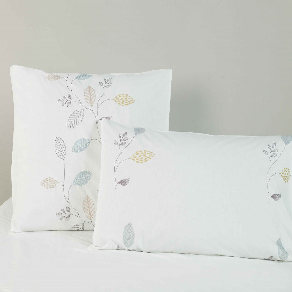 100% Cotton 180 Thread Count Embroidered King Pillowcase - 2 Pack Amara Leaves