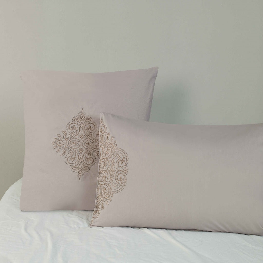 100% Cotton 180 Thread Count Embroidered Continental Pillowcase - 2 Pack Freya