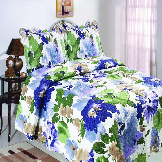 Microfibre Printed Quilt Set - Bold Flowers - CQ Linen Quality Bedding