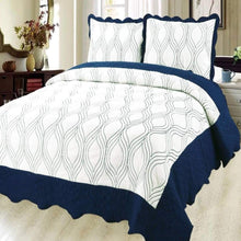 Load image into Gallery viewer, Luxury Microfibre Embroidered Quilt set - Geo ( Various Colours) - CQ Linen Quality Bedding