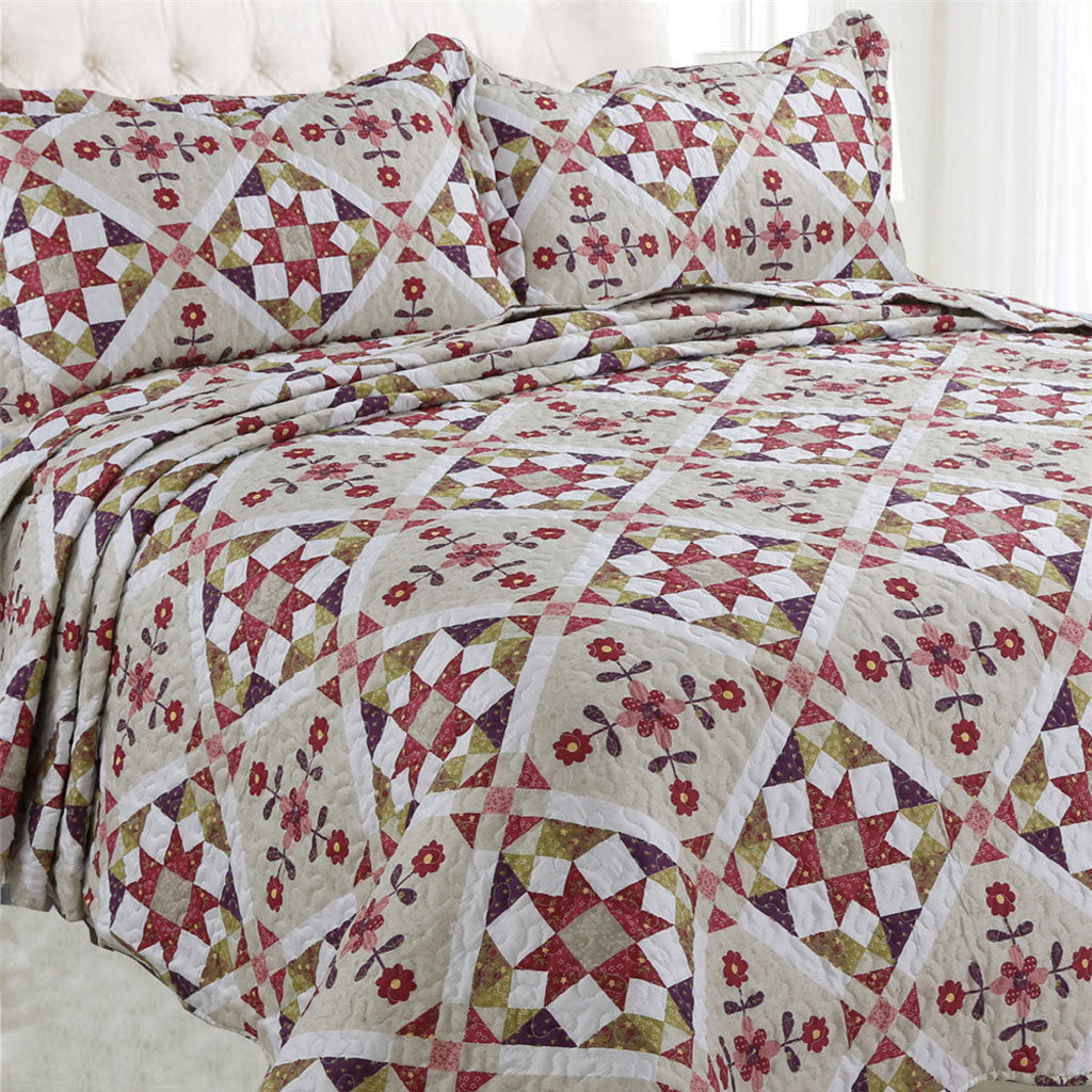 Microfibre Printed Quilt Set - Geometric Flowers - CQ Linen Quality Bedding