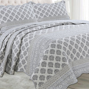 Microfibre Printed Quilt Set - Grey Damask - CQ Linen Quality Bedding