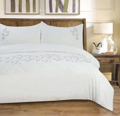 Microfibre Embroidered Duvet Cover Set - Marinda - CQ Linen Quality Bedding