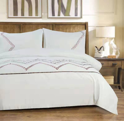 Microfibre Embroidered Duvet Cover Set - Samba - CQ Linen Quality Bedding