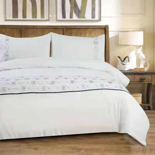 Microfibre Embroidered Duvet Cover Set - Ziggy - CQ Linen Quality Bedding