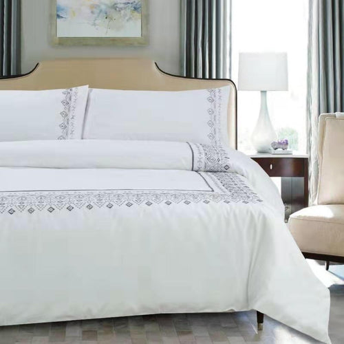 100% Cotton Embroidered Duvet cover set - Tiffany Boarder - CQ Linen Quality Bedding