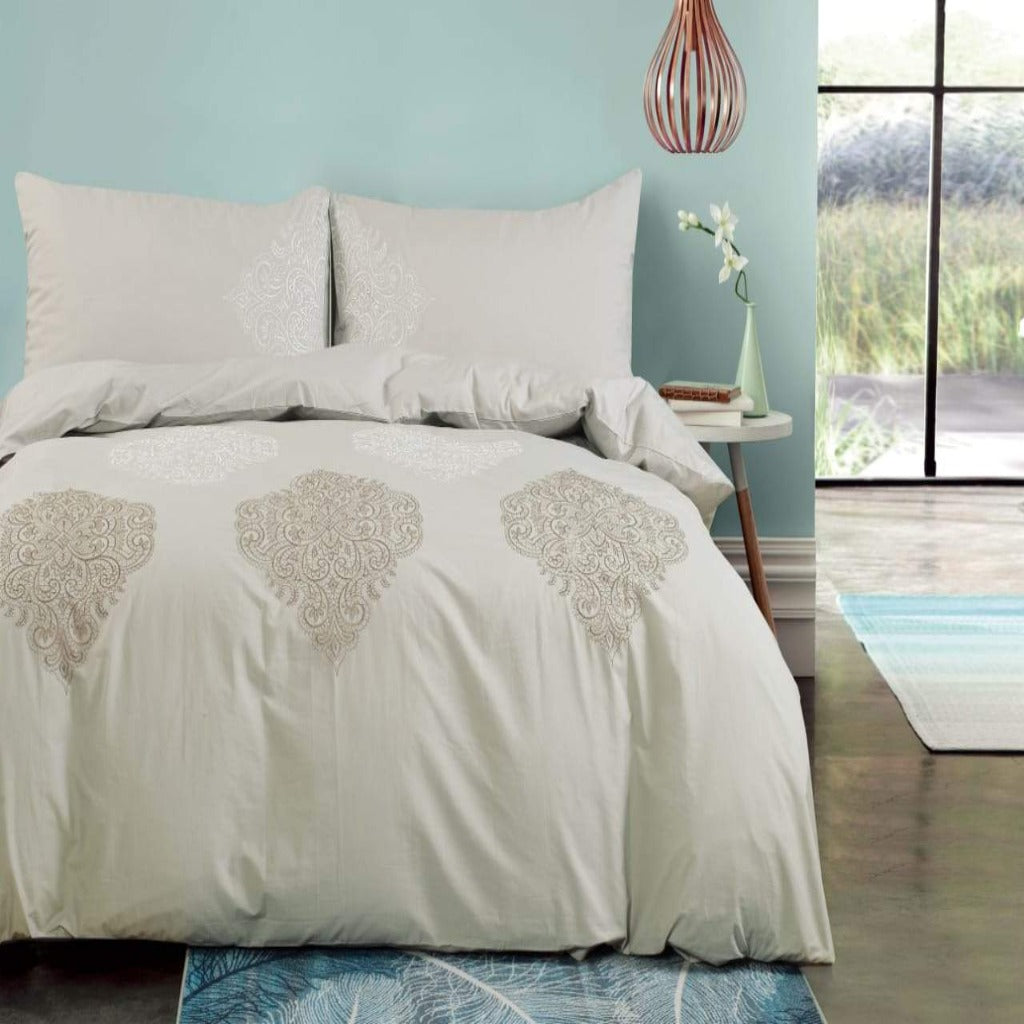 100% Cotton Embroidered Duvet Cover Set - Freya