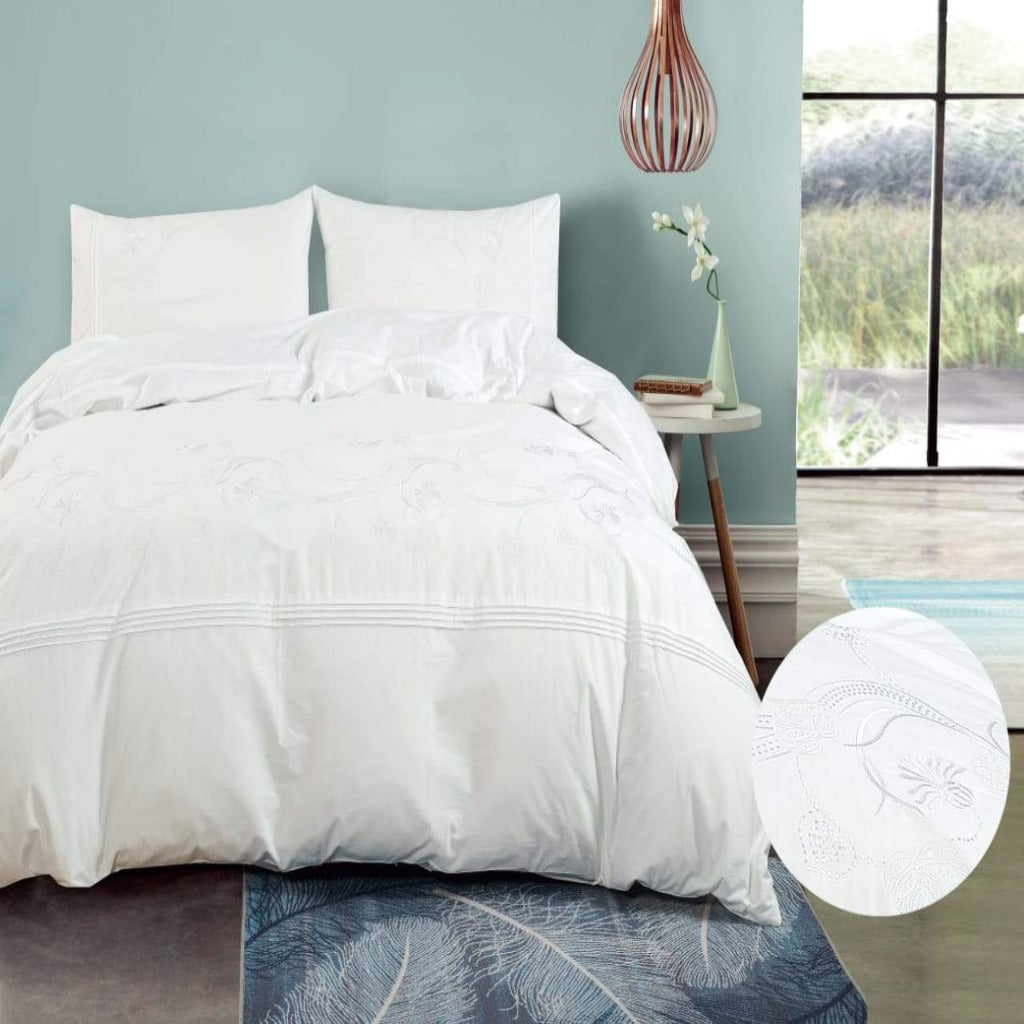 100% Cotton Embroidered Duvet Cover Set - Eliza