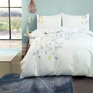100% Cotton Embroidered Duvet Cover Set - Amara Leaves
