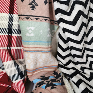 Flannel Fleece Throw with Sherpa - Assorted Designs - CQ Linen