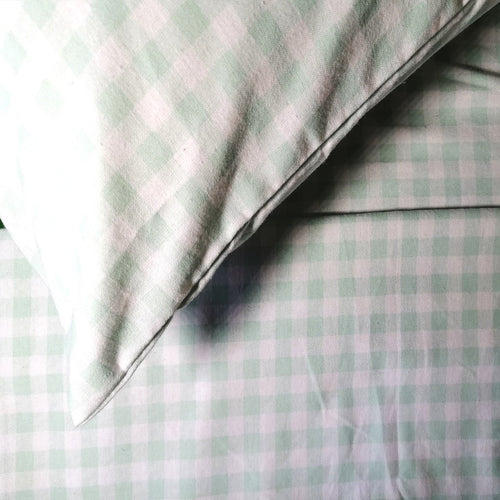 100% Brushed Cotton Winter Bale Set - Green Checked Print - CQ Linen Quality Bedding