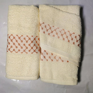 3 Piece Luxury Towel Set - Rich Cream with Salmon - CQ Linen Quality Bedding