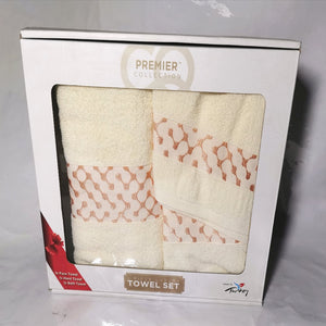 3 Piece Luxury Towel Set - Rich Cream with Salmon - CQ Linen