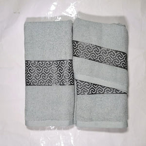 3 Piece Luxury Towel Set - Duck egg with Grey Scroll - CQ Linen Quality Bedding
