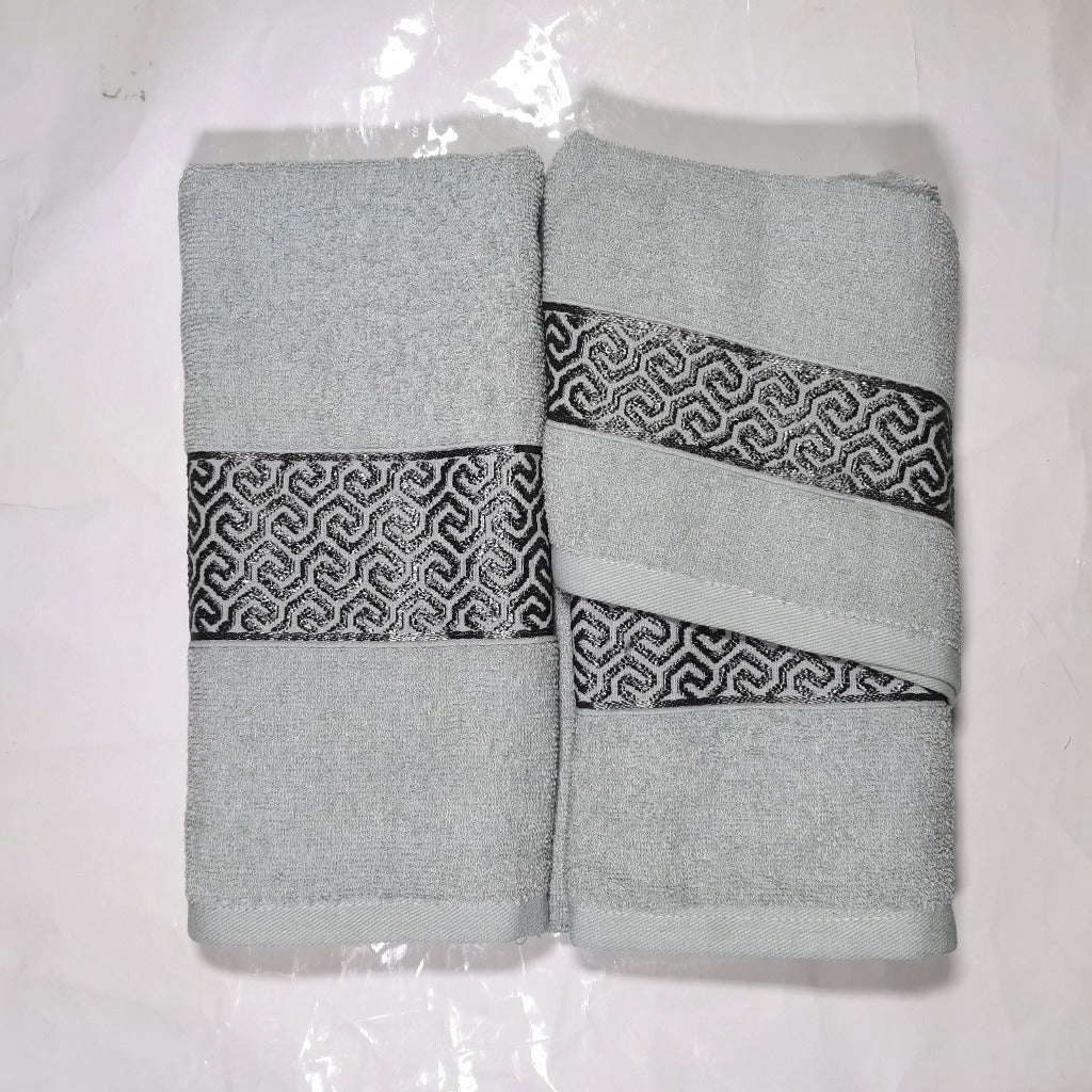 3 Piece Luxury Towel Set - Duck egg with Grey Scroll - CQ Linen