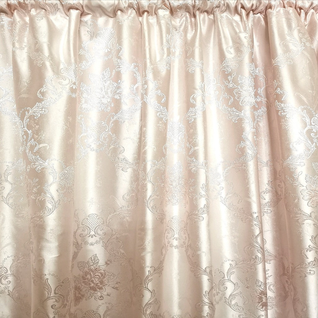 Pink Damask Exclusive Jacquard Taped and Lined Curtain - 230x218cm - CQ Linen Quality Bedding