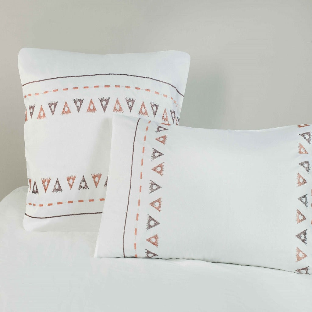Microfibre Embroidered Continental Pillowcase - 2 Pack Sienna