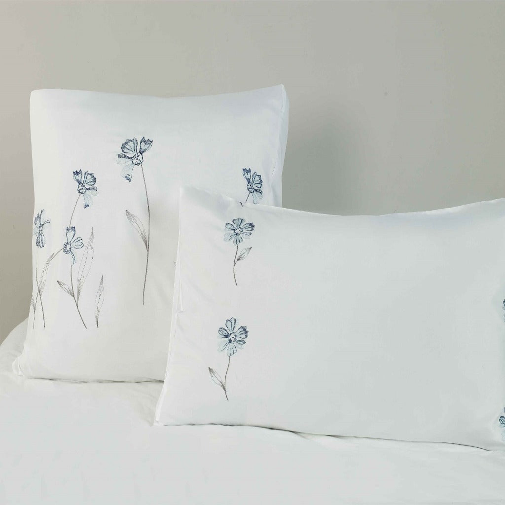 Microfibre Embroidered King Pillowcase - 2 Pack Emily