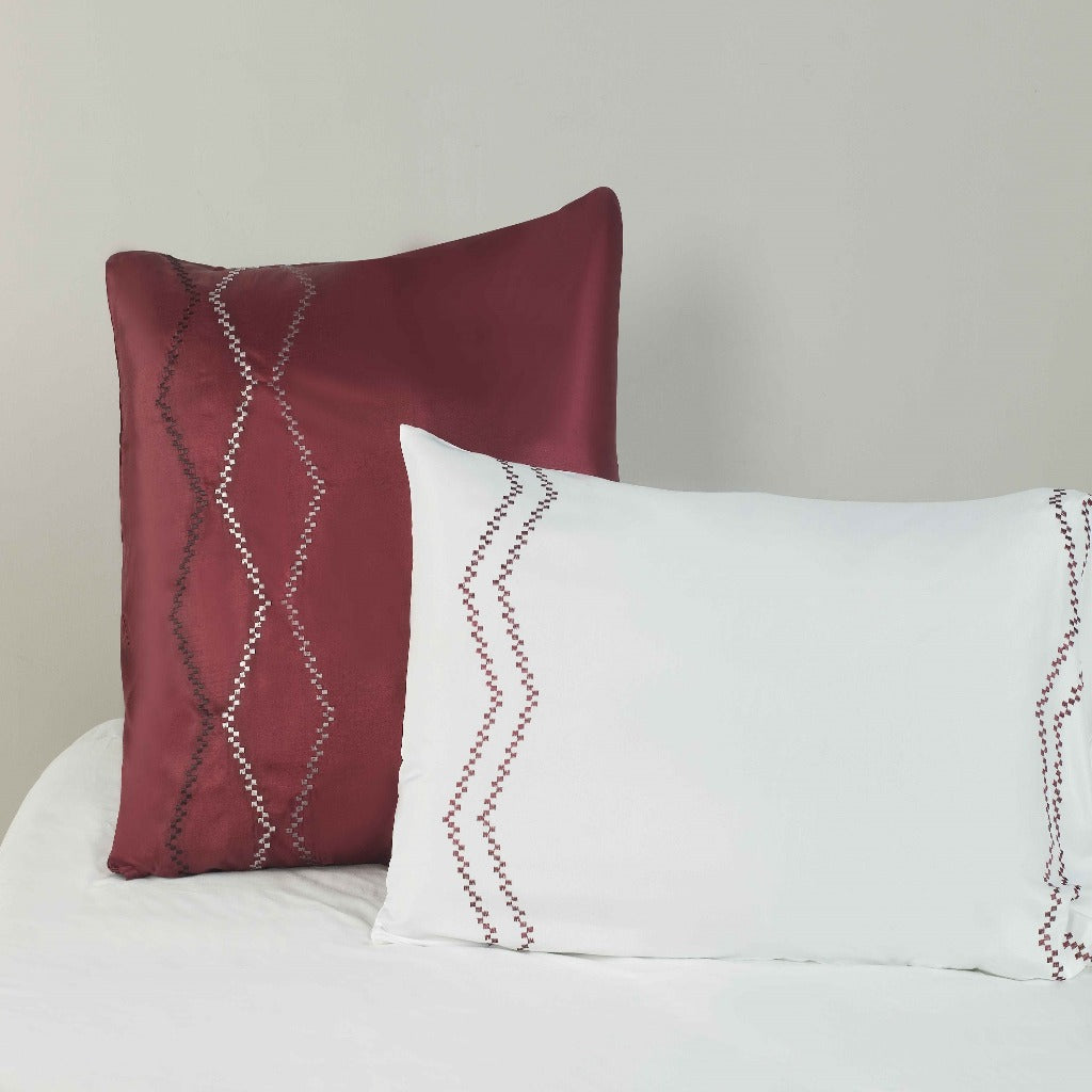 Microfibre Embroidered Continental Pillowcase - 2 Pack Naomi